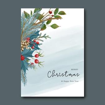 Шаблон рождественской и новогодней открытки с акварельными рождественскими синими листьями