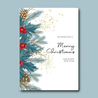 Рождественская и новогодняя открытка с акварельными рождественскими синими листьями
