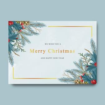 Рождественская и новогодняя открытка с акварельными рождественскими листьями