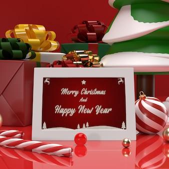 クリスマスと新年のお祝いの招待状ギフトカードのモックアップ