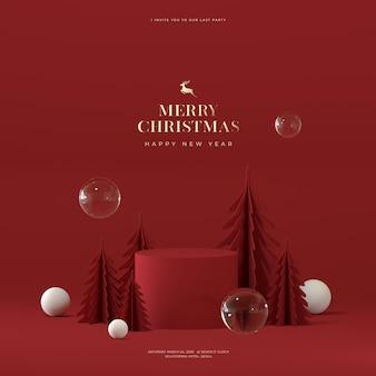 クリスマスと新年のレンダリングのモックアップ