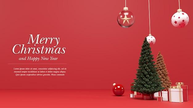 Рождественский и новогодний макет рендеринга