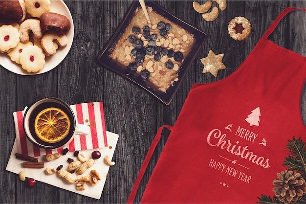 Christmas apron and sweets mockup