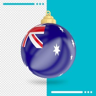 Christmas australia flag 3d rendering isolated