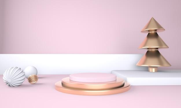 3dレンダリングで製品を表示するためのクリスマスツリーとステージとクリスマスの背景