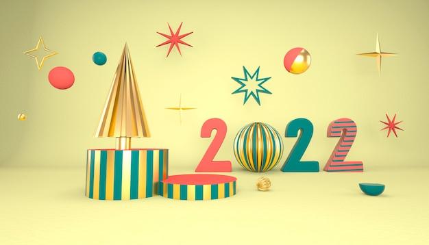 Новогодний фон с елкой и сценой для отображения продукта. 3d-рендеринг.