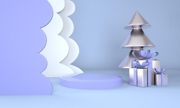 クリスマスツリーと製品表示3dレンダリングのステージとクリスマスの背景