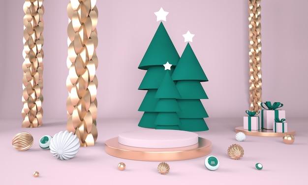 크리스마스 트리와 3d 렌더링에서 제품 표시를위한 무대와 크리스마스 배경