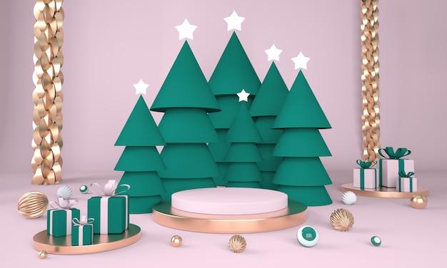クリスマスツリーと3dレンダリングで製品を表示するためのステージとクリスマスの背景