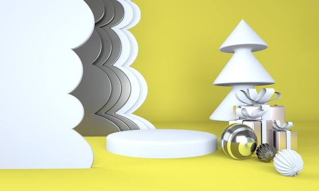 クリスマスツリーと製品展示のためのステージとクリスマスの背景