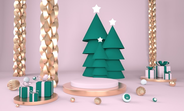 Christmas background with christmas tree and stage for product display in 3d rendering