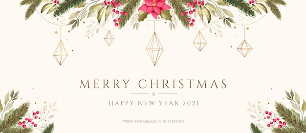 Christmas background with watercolor and golden ornaments
