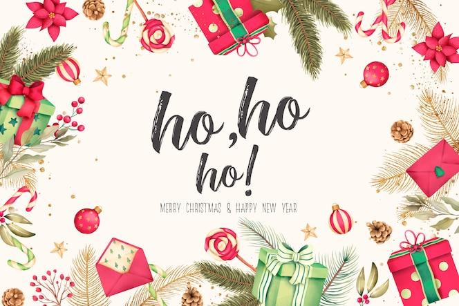 Рождественский фон с акварельными подарками и украшениями