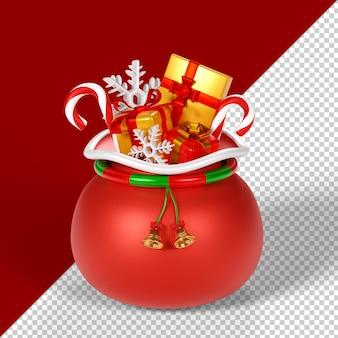 Рождественский мешок с подарками изолированные 3d визуализации