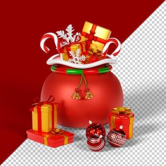 プレゼントが分離された3dレンダリングのクリスマスバッグ