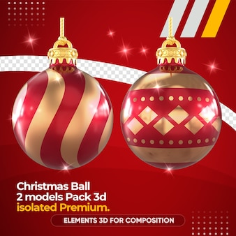Christmas ball for composition in 3d rendering mockup