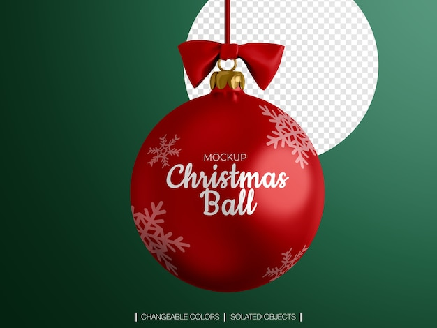 Christmas ball decoration with a bow mockup isolated