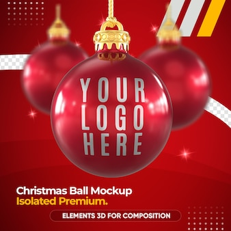 Christmas ball mockup in 3d rendering mockup