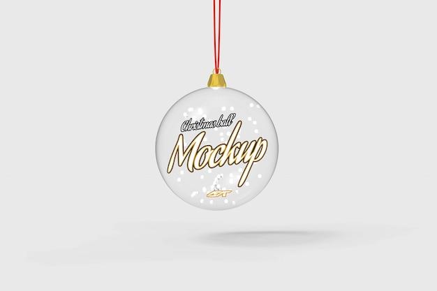 分離されたクリスマスボールのモックアップ