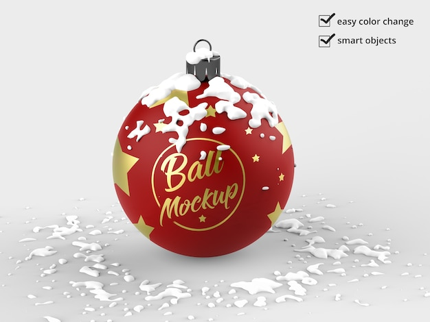 Christmas ball mockup isolated