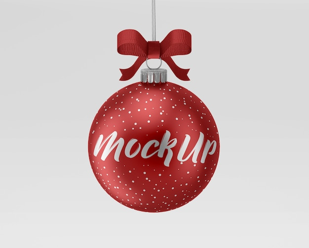Christmas ball mockup with ribbon