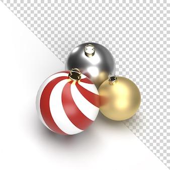クリスマスボールストライプゴールドとシルバーの透明な3dレンダリング