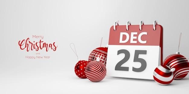 흰색 배경, 3d 그림에 크리스마스 날의 달력으로 크리스마스 공