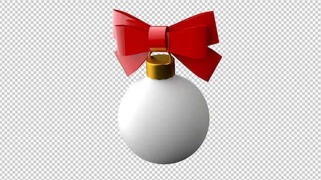 Christmas ball with red ribbon in 3d illustration isolated