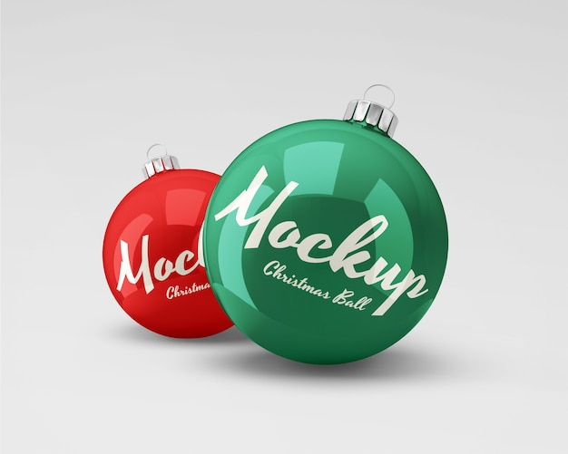 Christmas balls mockup glossy and matte textures