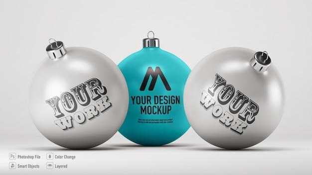 Christmas balls mockup isolated