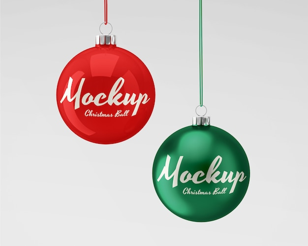 Christmas balls mockup with glossy and matte textures