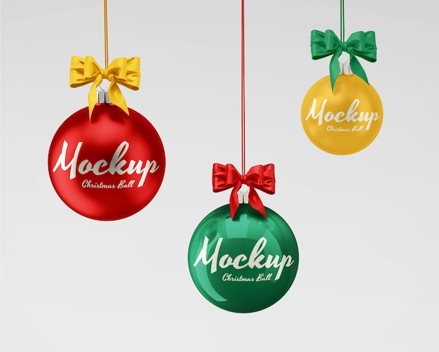 Christmas balls mockup with ribbon set