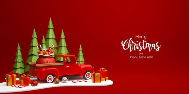 소나무 숲 3d 그림에서 선물 가방과 함께 크리스마스 트럭의 크리스마스 배너
