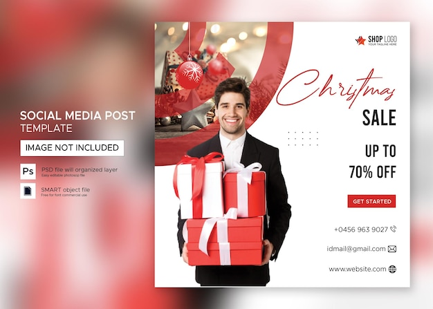クリスマスバナーセールinstagram投稿プレミアムpsd