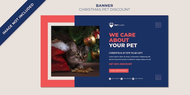 Christmas banner template for clinic pet discount