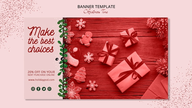 Рождественский баннер шаблон концепции