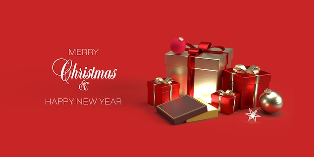 Christmas banner template with gifts, christmas toys on red background