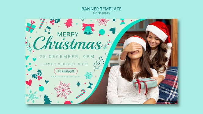 Christmas banner template with image