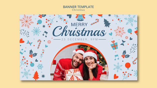 Christmas banner template with photo