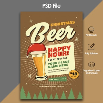 Christmas beer party flyer template
