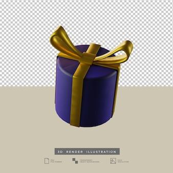 分離された金の弓粘土スタイルの3dイラストとクリスマスブルーラウンドギフトボックス