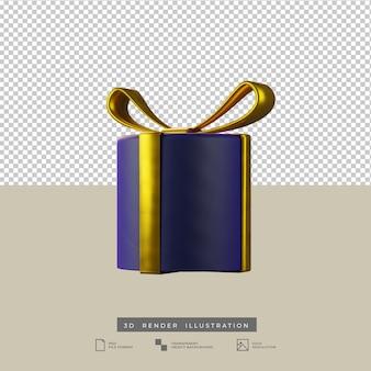 ゴールドの弓粘土スタイルの正面図3dイラストとクリスマスブルーラウンドギフトボックス