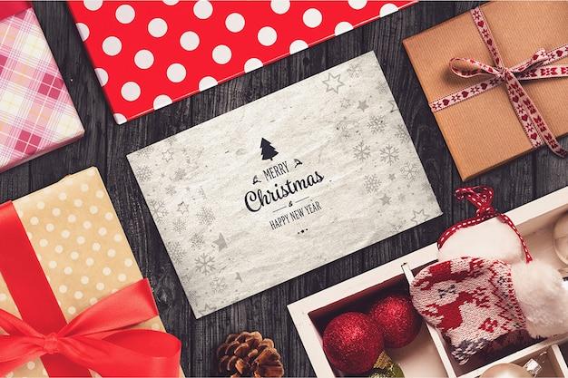 Рождественская открытка и элементы