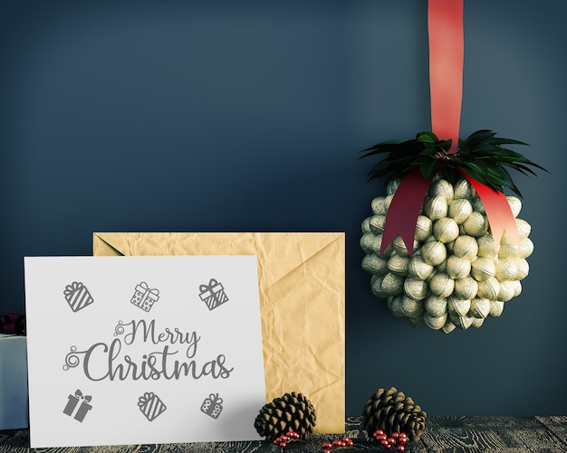 Christmas card decoration simple and gentle christmas mockup