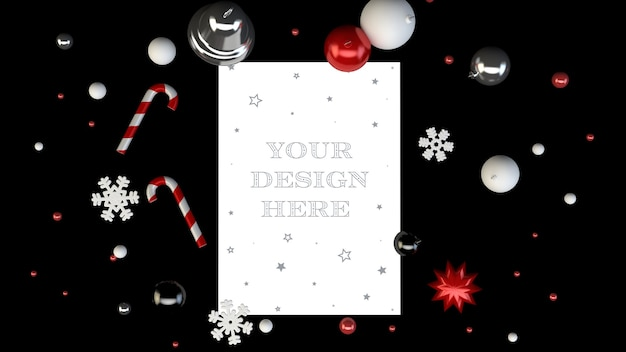 Christmas card mockup surrounded with decorative elements