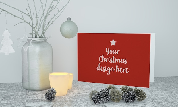 装飾が施されたクリスマスカードのモックアップ