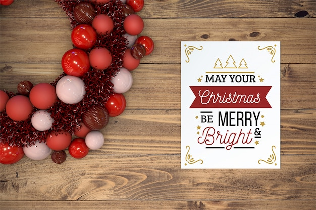 Christmas card mockup with wreath