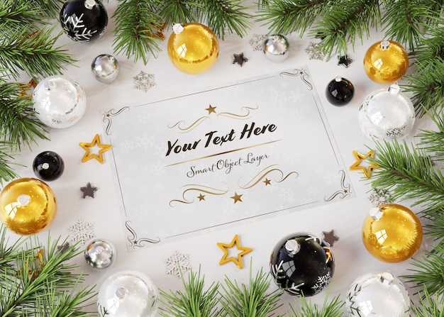 Christmas card mockup on wooden surface with christmas ornaments