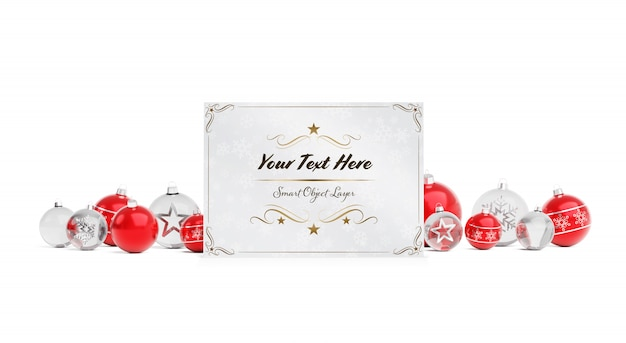 Christmas card with christmas baubles mockup