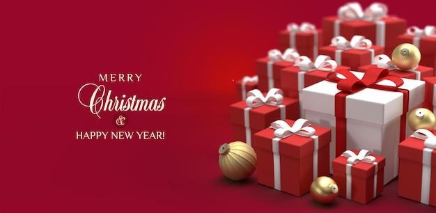 빨간색 배경에 집중된 선물과 공이 있는 크리스마스 카드